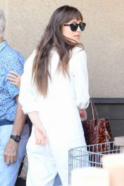 Dakota Johnson in White Jumpsuit - Shopping at Erewhon in Los Angeles
