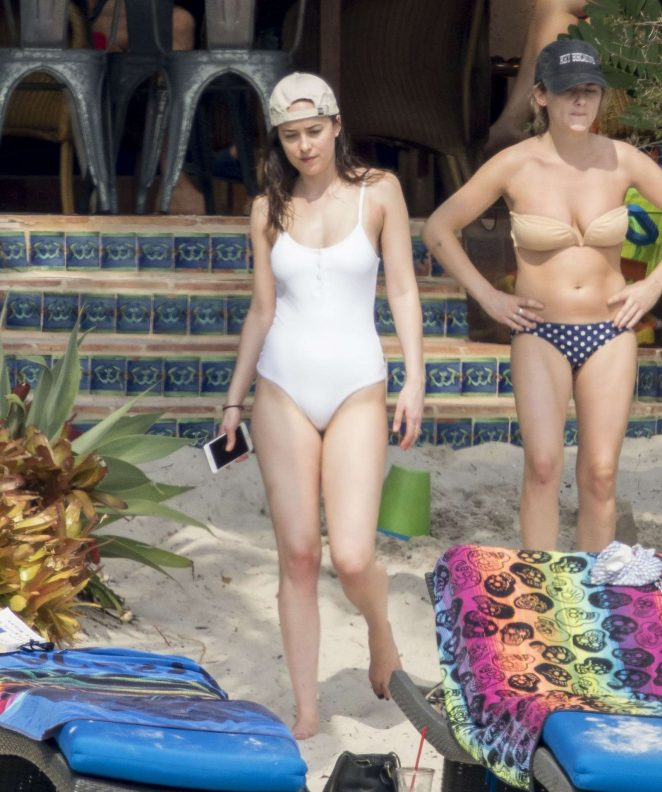 Dakota Johnson in White Swimsuit 2017 -04