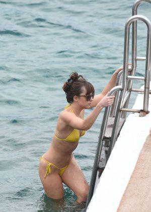 Dakota Johnson in Yellow Bikini 2016 -05