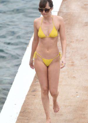 Dakota Johnson in Yellow Bikini 2016 -12