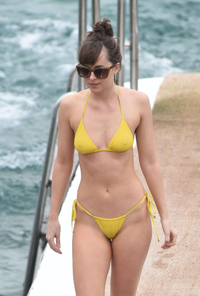 Dakota Johnson in Yellow Bikini on 'Fifty Shades Darker' set in France