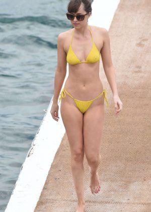 Dakota Johnson in Yellow Bikini 2016 -24