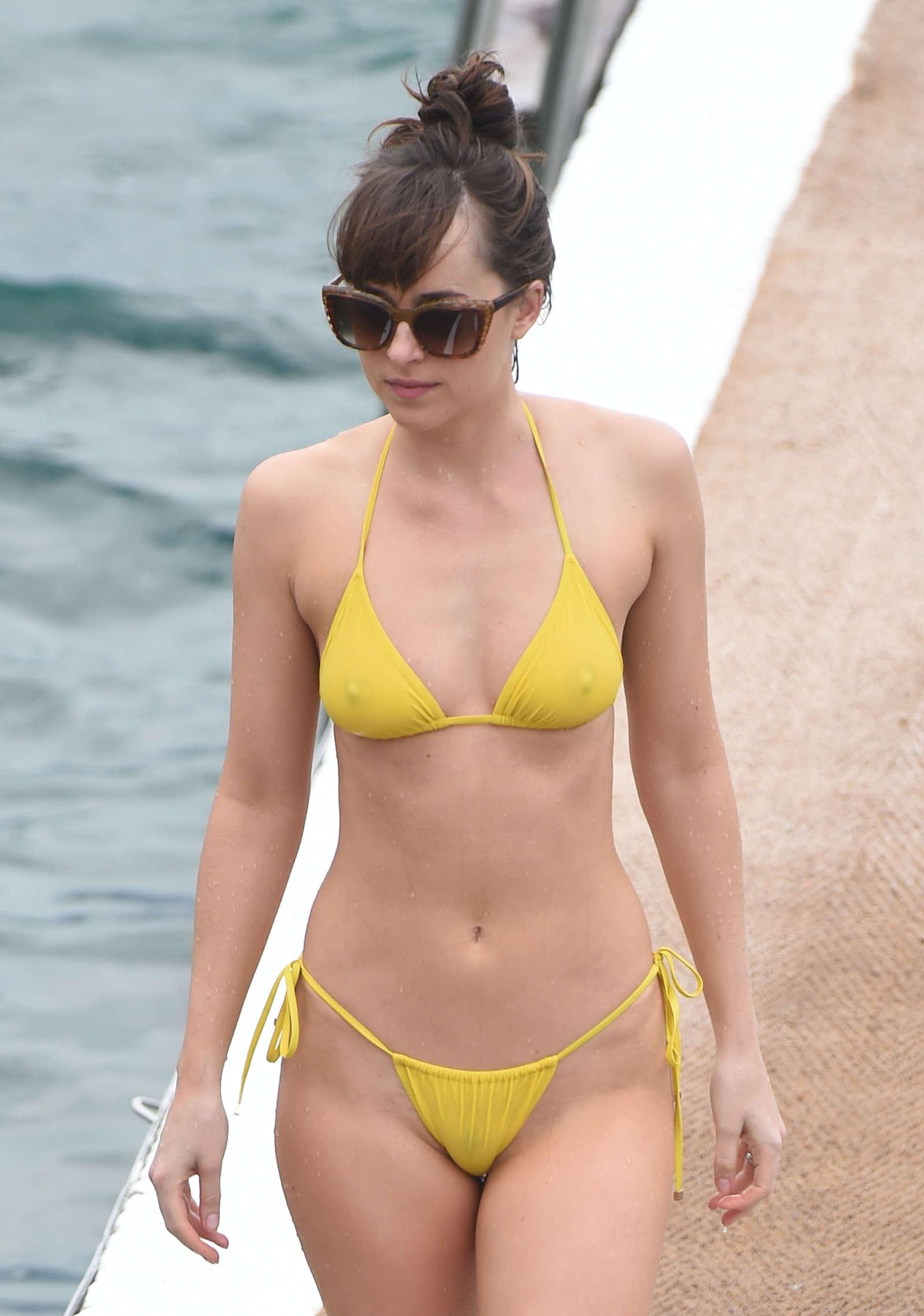 Dakota Johnson in Yellow Bikini