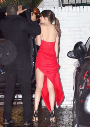 Dakota Johnson in Red Dress at Chateau Marmont in West Hollywood