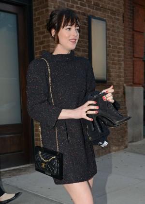 Dakota Johnson in Mini Dress Leaving her hotel in NYC