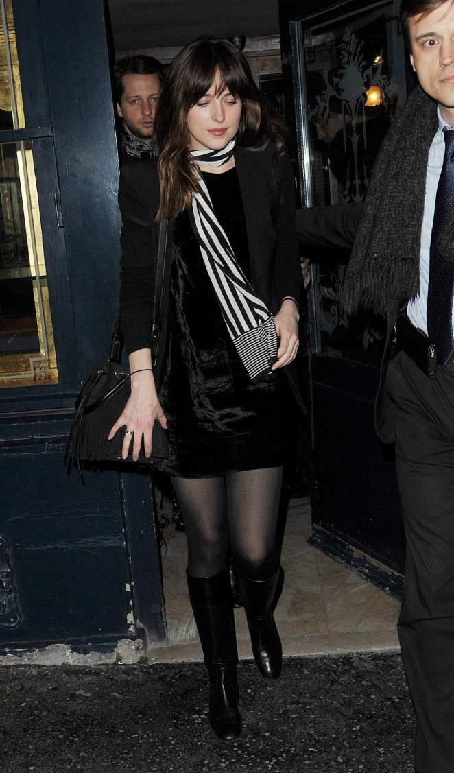 Dakota Johnson in Short Dress Leaving the Balmain Party in Paris