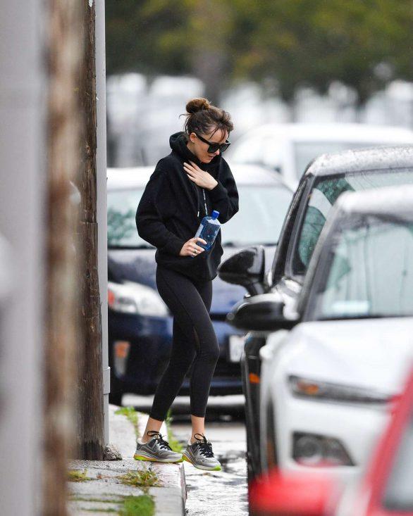 Dakota Johnson - Leaving Yoga on a rainy Los Angeles