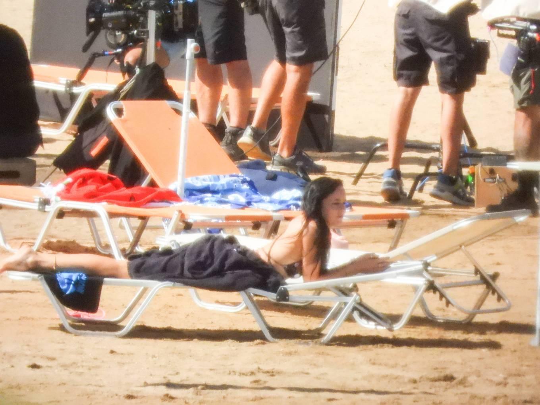 Dakota Johnson - On a movie set on a beach in Spetses - Greece