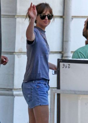 Dakota Johnson on 'Fifty Shades Freed' set in France