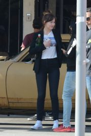 Dakota Johnson - On the movie set of 'Covers' in Hollywood