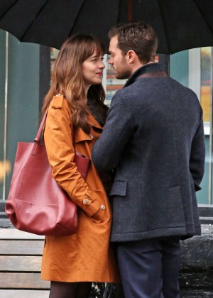 Dakota Johnson on the set of 'Fifty Shades Darker' in Vancouver