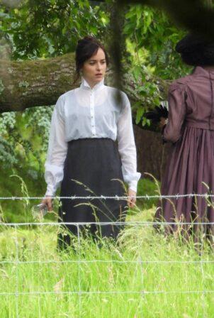 Dakota Johnson - On the set of Netflix adaptation of Persuasion in Salisbury