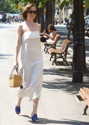 Dakota Johnson in White Dress Out in Barcelona