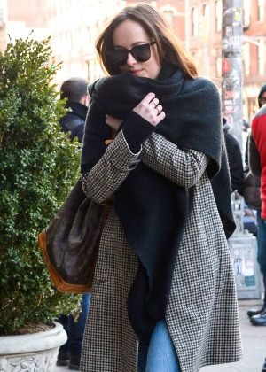 Dakota Johnson out for a walk in New York