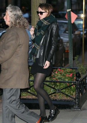 Dakota Johnson in Mini Skirt Out in NY