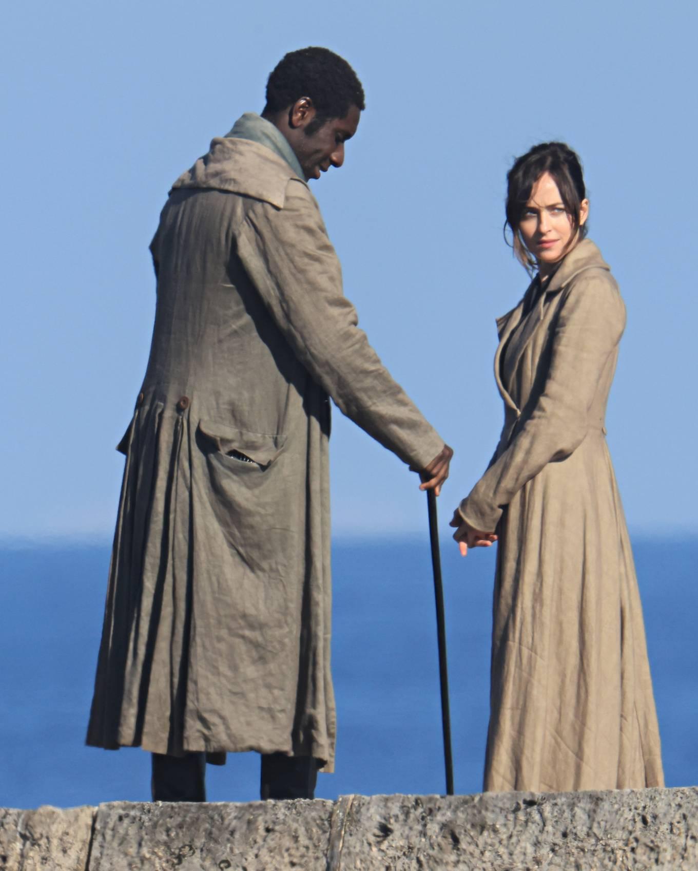 Dakota Johnson - 'Persuasion' set on The Cobb at Lyme Regis