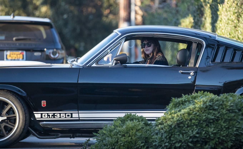 Dakota Johnson - Seen in her Mustang GT 350 in Malibu