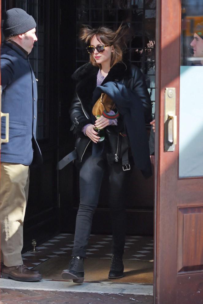 Dakota Johnson: Leaving her hotel in NYC -09