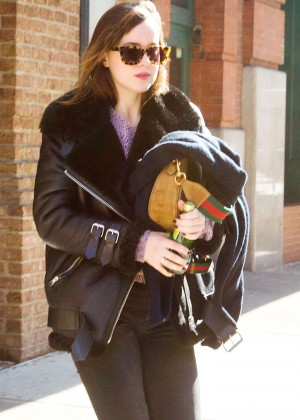 Dakota Johnson Style - Leaving her hotel in NYC