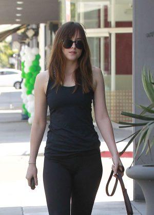 Dakota Johnson - Walking her dog in Los Angeles