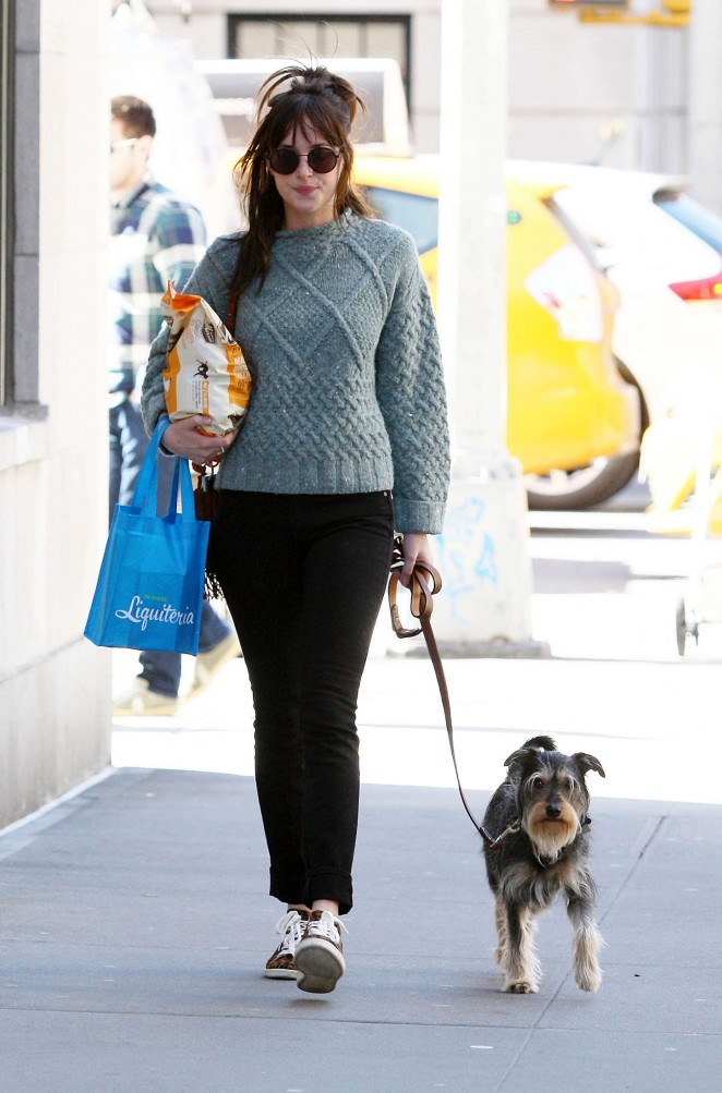 Dakota Johnson - Walking her dog in NYC