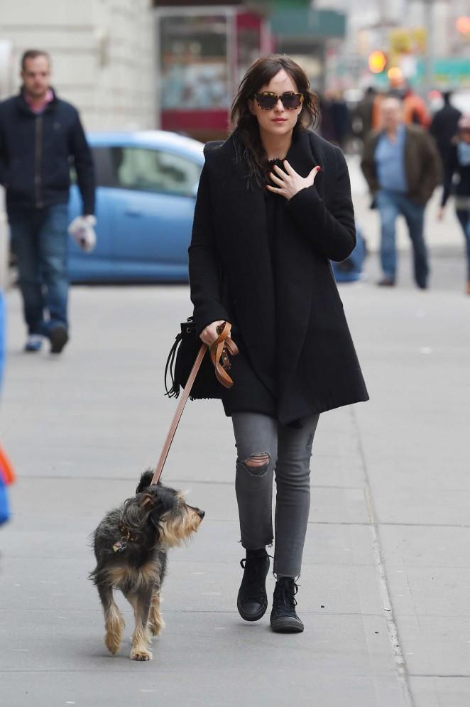 Dakota Johnson - Walking her dog in NYC