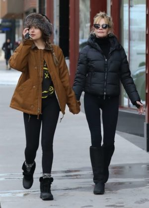 Dakota Johnson with her mom Melanie Griffith out in Aspen
