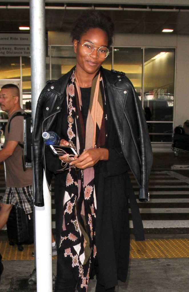 Damaris Lewis in Leather Jacket at LAX in Los Angeles