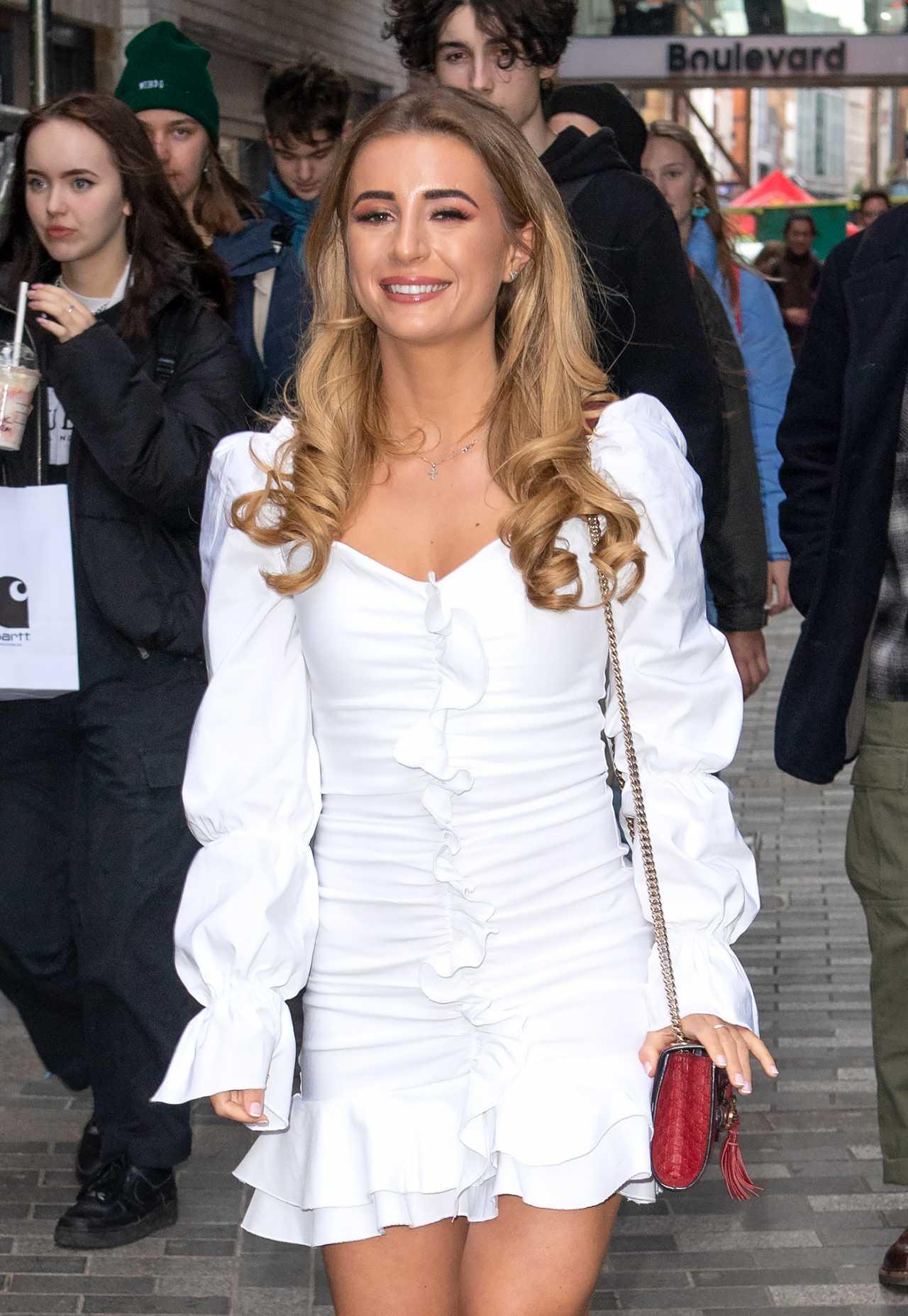 Dani Dyer in white dress spotted in Soho