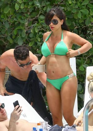 Daniella Semaan in Green Bikini in Miami
