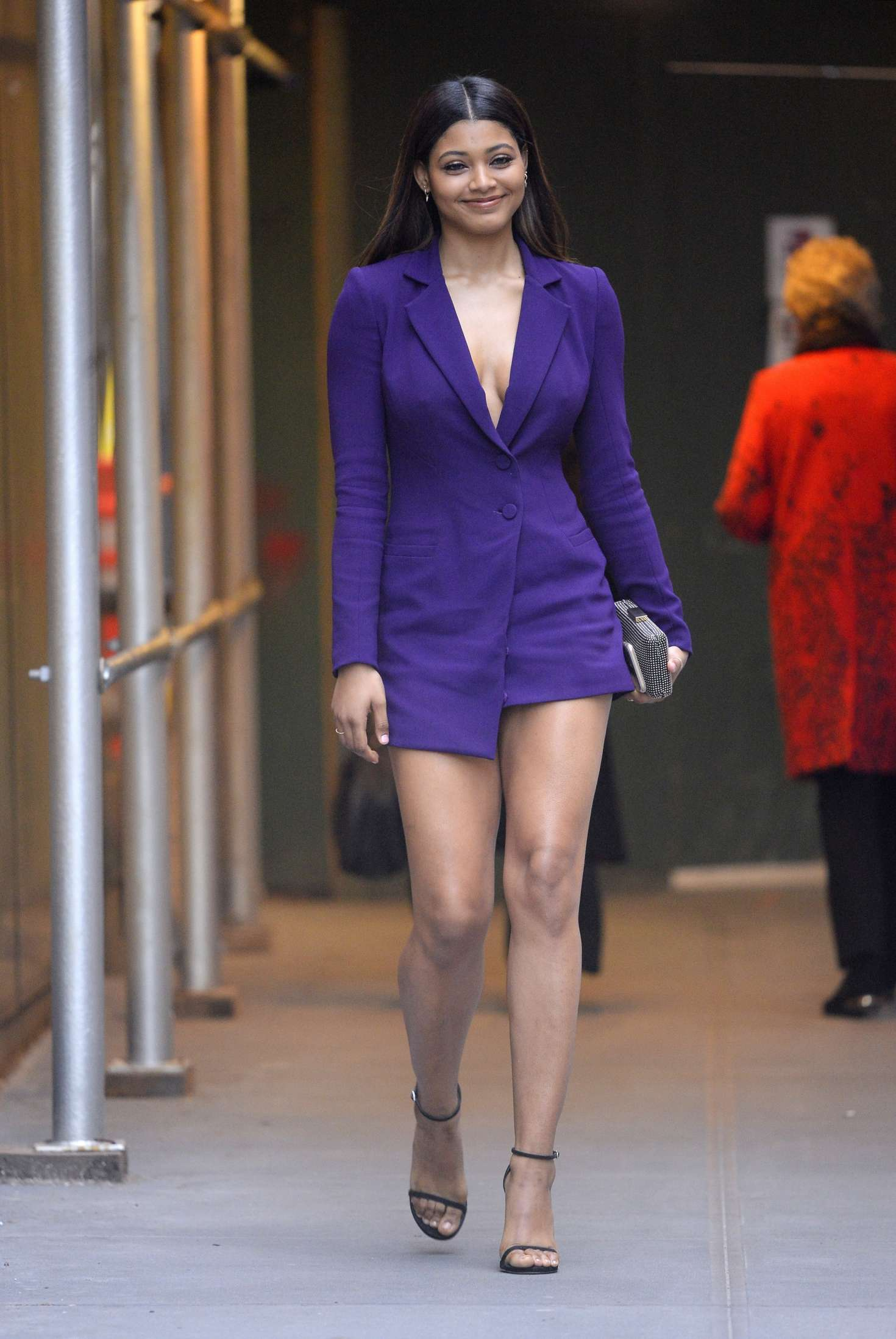 danielle herrington in purple mini dress out in new york city. Black Bedroom Furniture Sets. Home Design Ideas