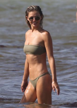 Danielle Knudson in Bikini at the beach in Miami