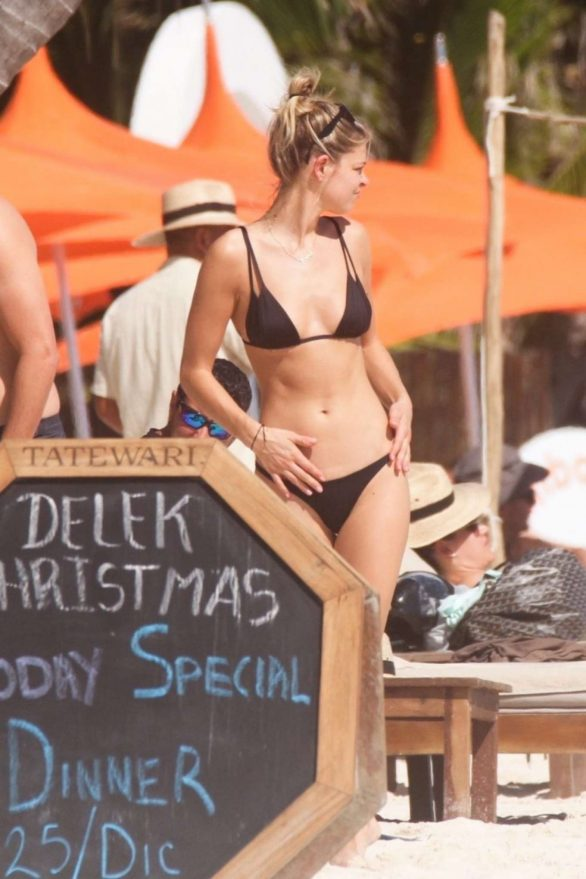 Danielle Knudson in Black Bikini on the beach in Tulum
