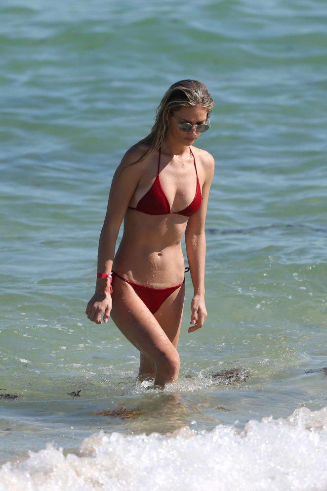 Danielle Knudson in Red Bikini on Miami Beach