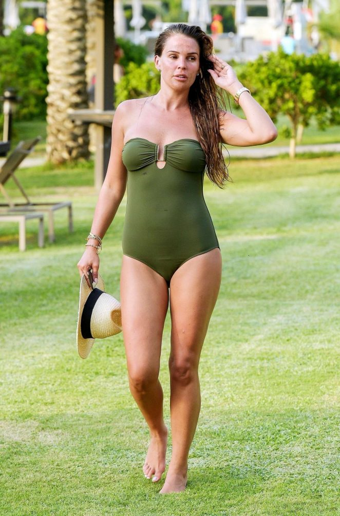Danielle Lloyd in Green Swimsuit in Dubai