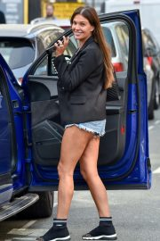 Danielle Lloyd in Jeans Shorts at San Carlo Restaurant in Liverpool