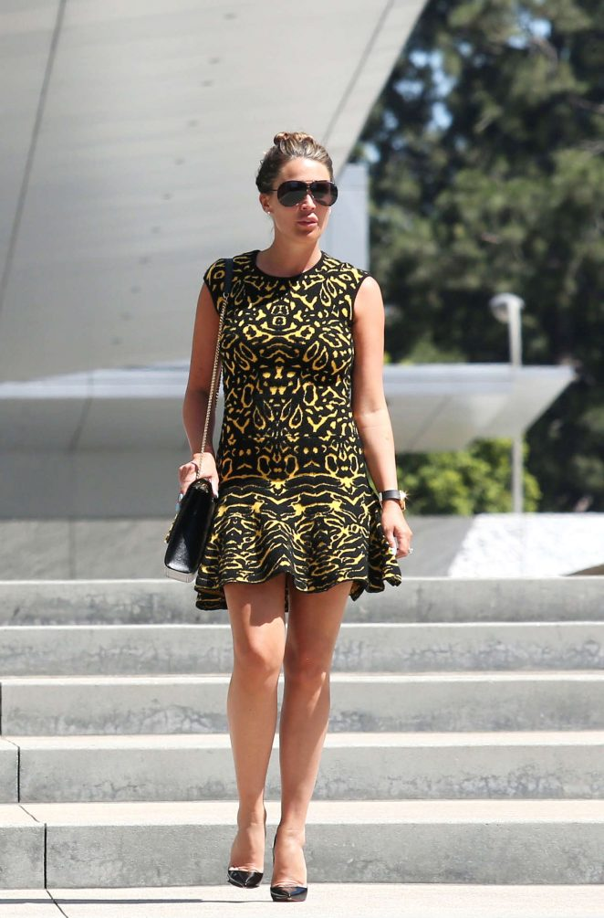 Danielle Lloyd in Mini Dress Leaves an office building in Beverly Hills