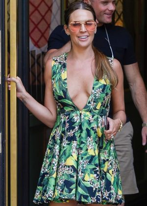 Danielle Lloyd in Mini Dress - Leaves Ivy Restaurant in Birmingham