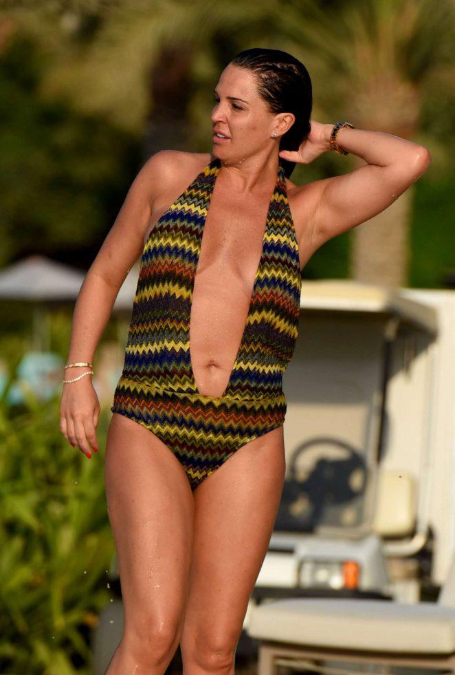 Danielle Lloyd in Swimsuit at a pool in Dubai