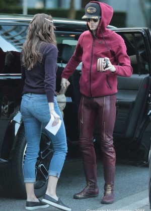 Danielle Panabaker - On the set of 'The Flash' in Vancouver