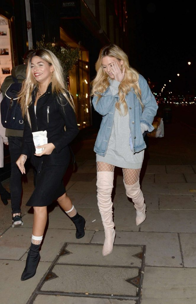 Danielle Sellers and Louisa Johnson - Arriving at Reign nightclub in London