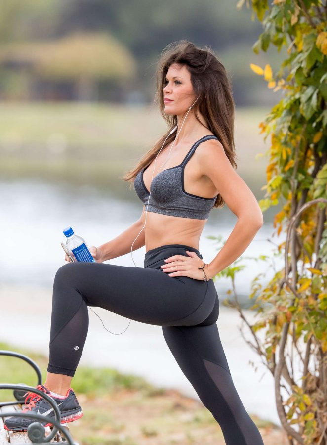 Danielle Vasinova in Tights and Sports Bra Workout in LA