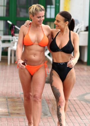 Danniella Westbrook and Chantelle Connelly in Bikini on the pool in Gran Canaria