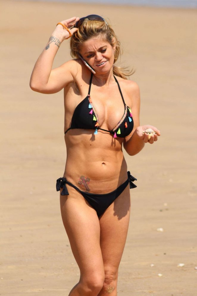 Danniella Westbrook in Black Bikini on the beach in Clacton-on-Sea
