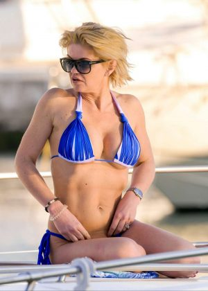 Danniella Westbrook in Blue Bikini in Marbella