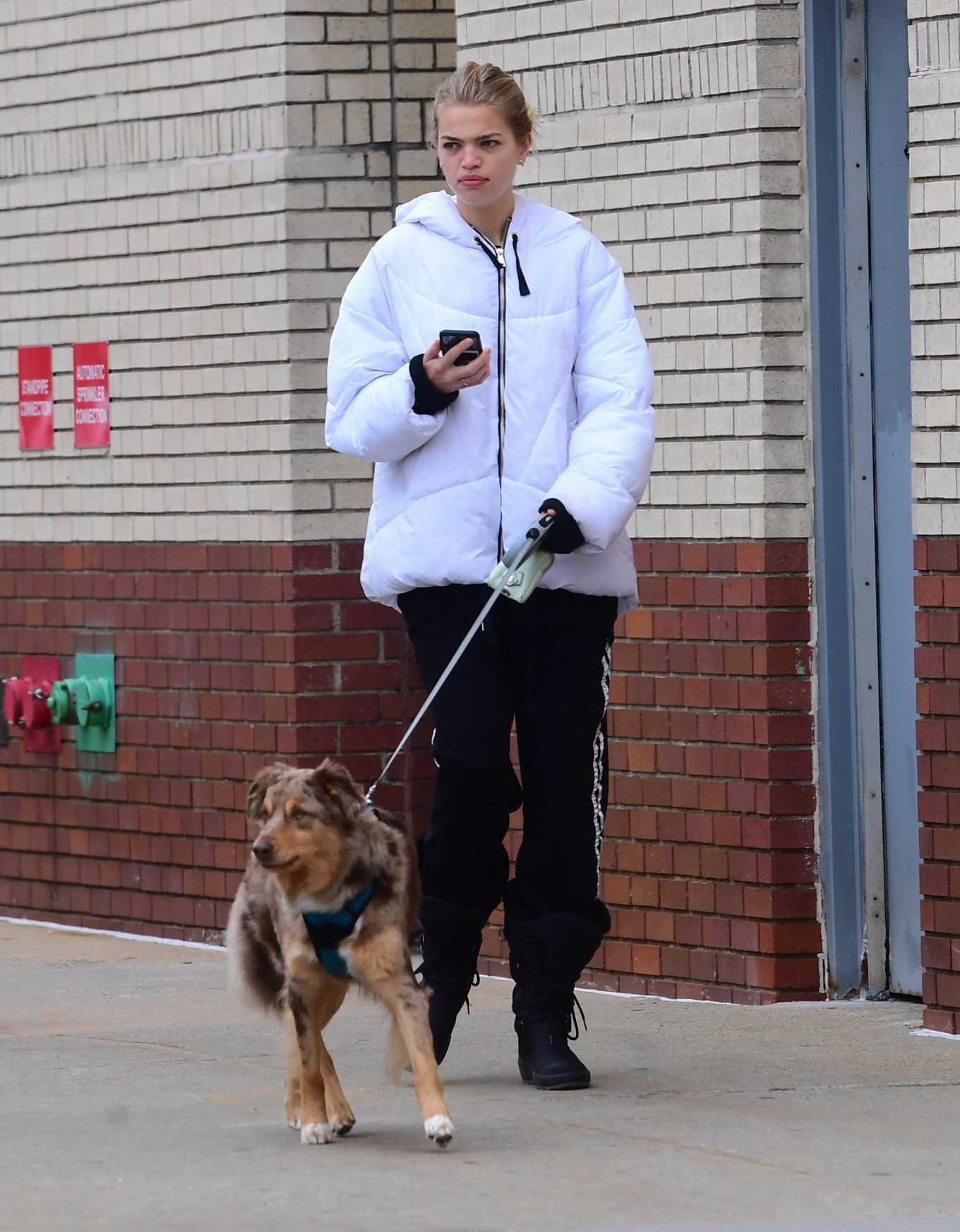 Daphne Groeneveld walk her dog in NY