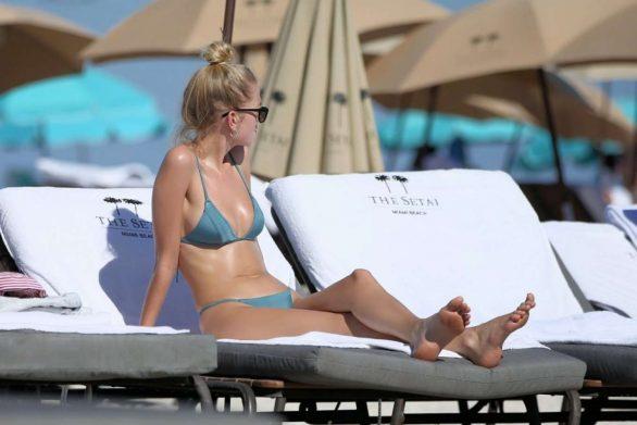 Daphne Groeneveld - wearing a green bikini in Miami Beach