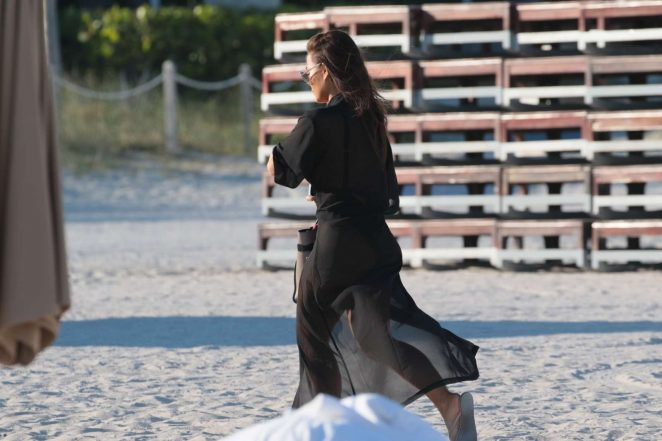 Daphne Joy at a beach in Miami