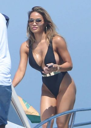 Daphne Joy in Black Swimsuit on vacation in Saint Vincent