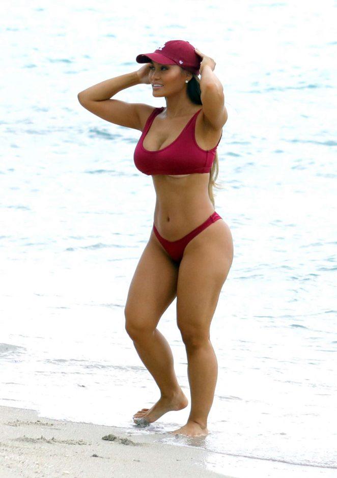 Daphne Joy in Red Bikini in Miami